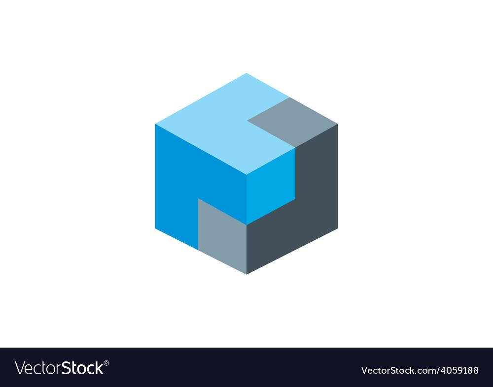 Cube 3D box logo vector image
