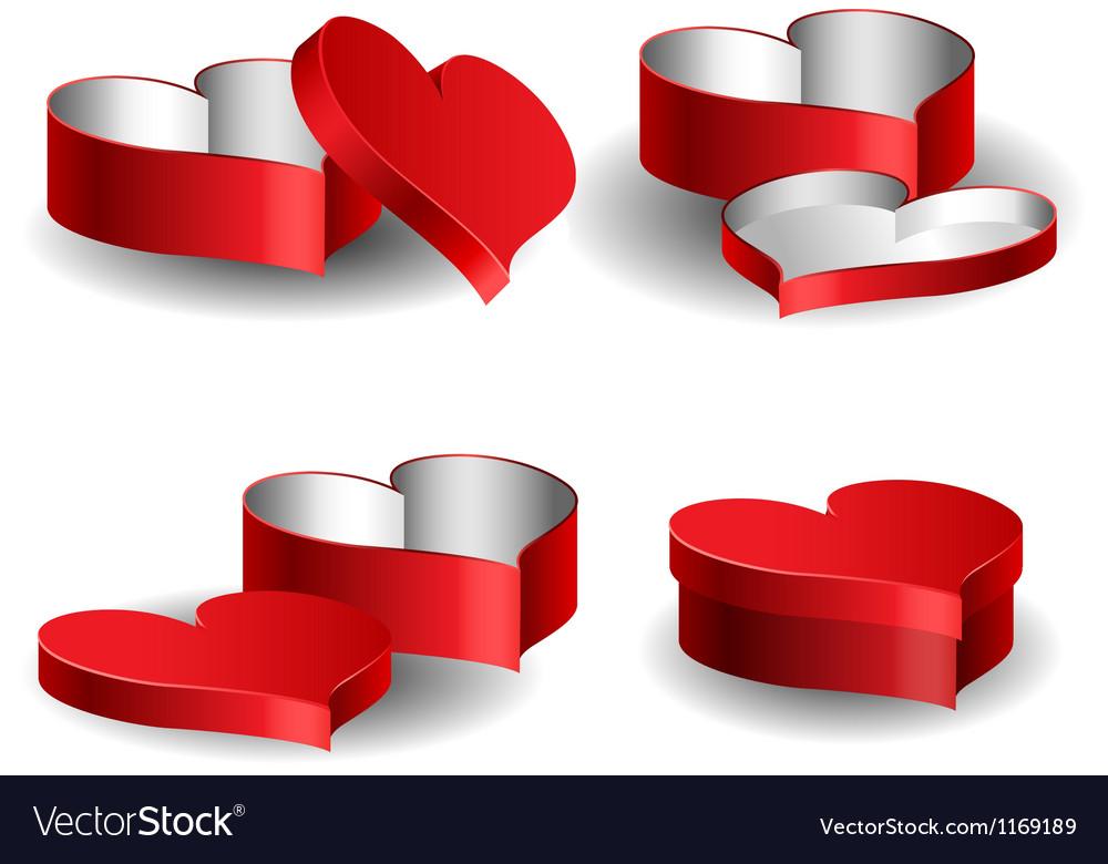 Heart shaped box set vector image