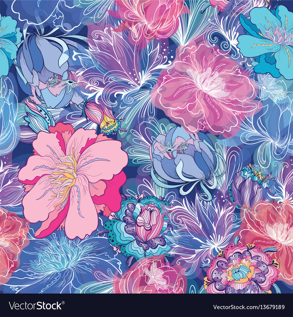 Romantic floral pattern vector image