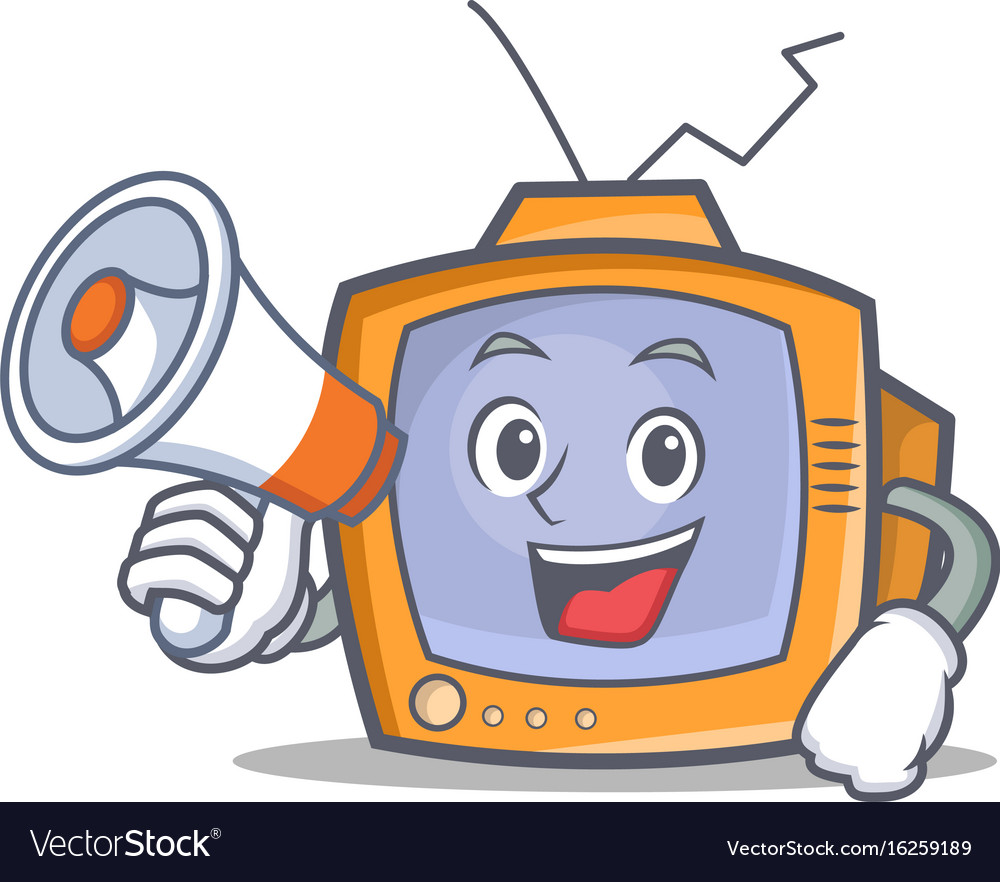 Tv character cartoon object with megaphone vector image