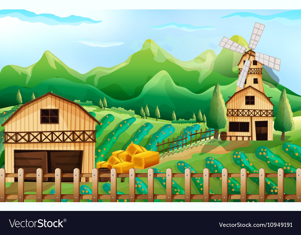 Farmland with barn and windmill vector image