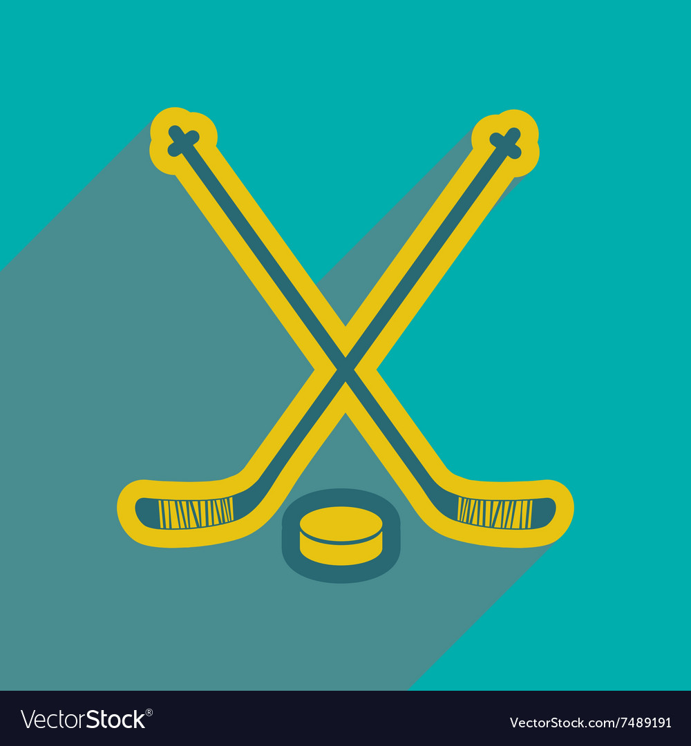 Hockey sticks and puck icon flat style