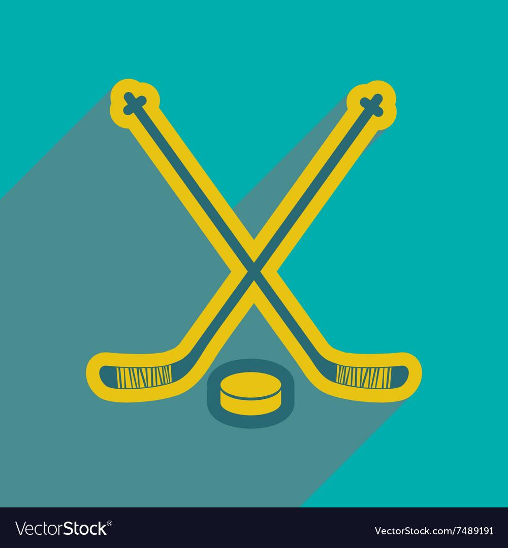 Flat icon with long shadow hockey sticks