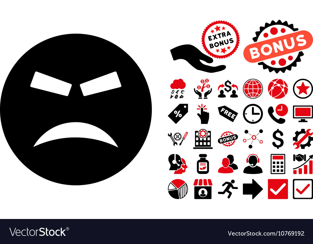 Furious Flat Icon with Bonus vector image