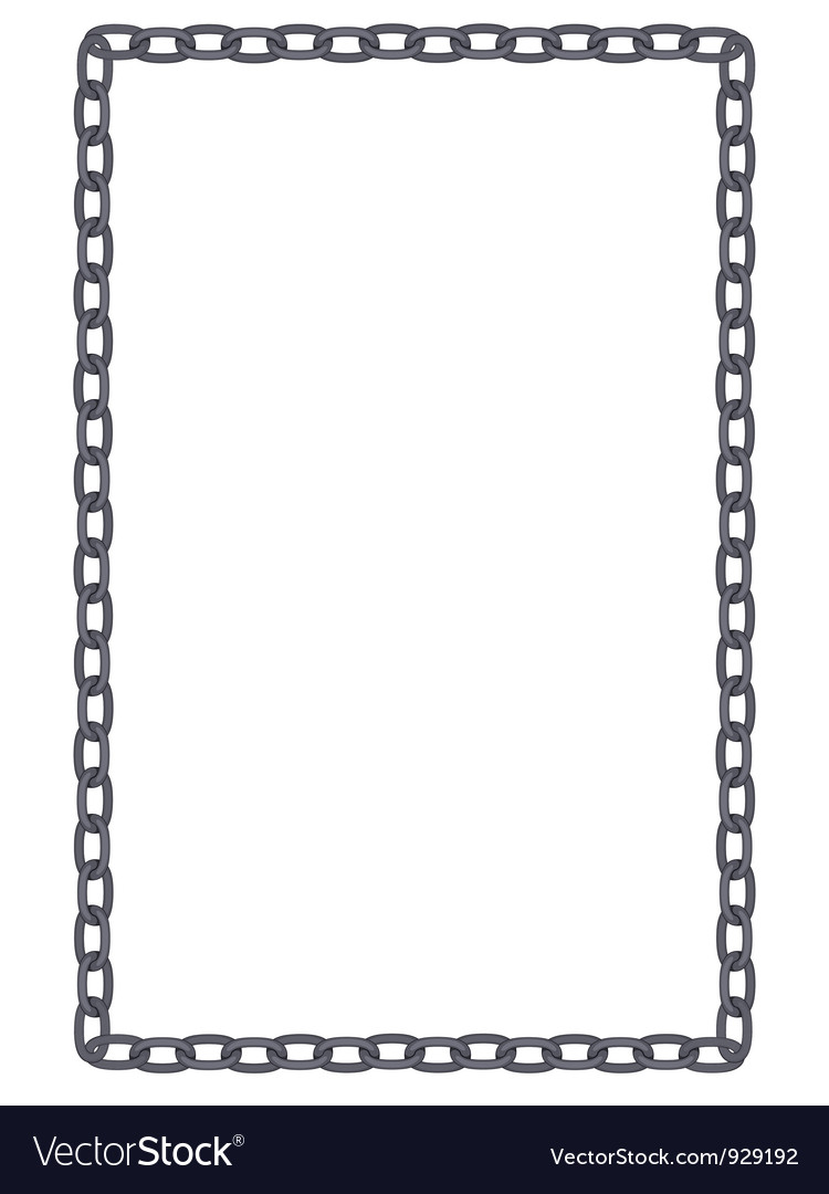 Plain and simple metal chain frame isolated vector image