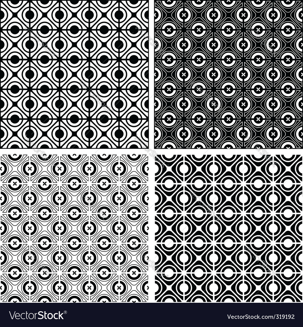 Seamless checked crisscross patterns set vector image