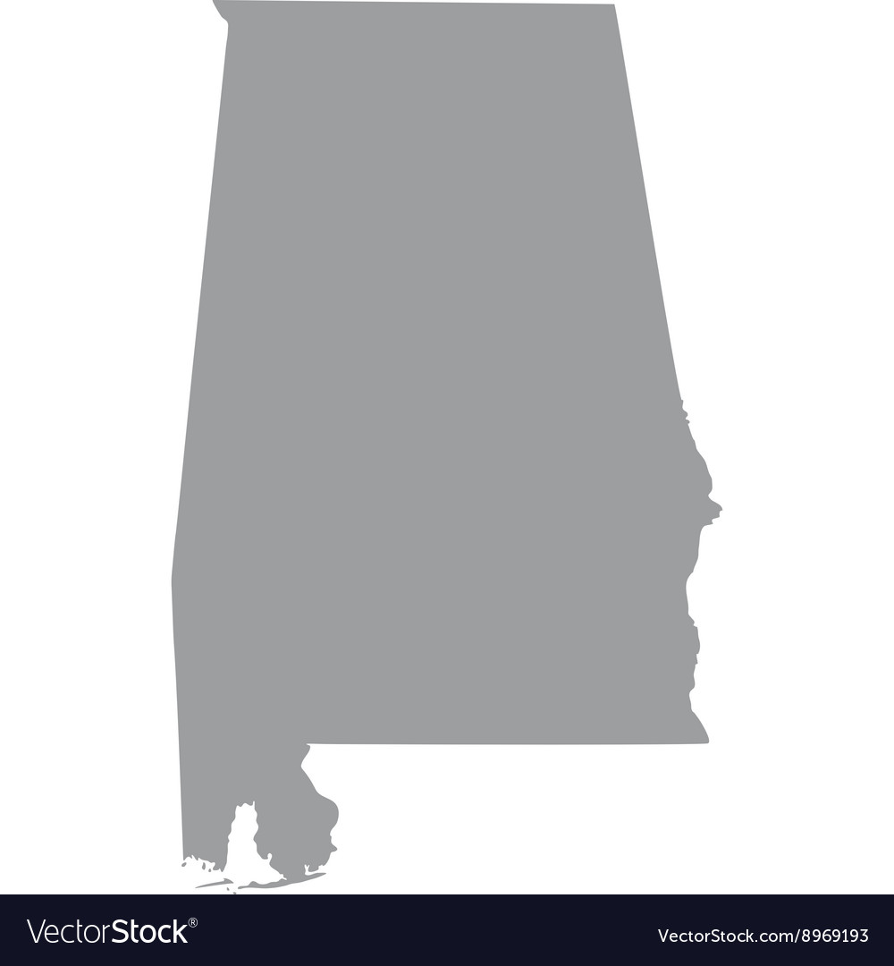 Map Of The US State Of Alabama Royalty Free Vector Image - Alabama on us map