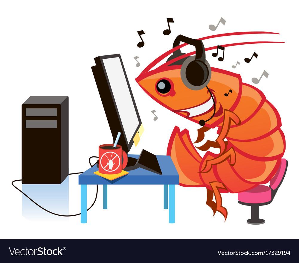 Cartoon shrimp cartoon character vector image