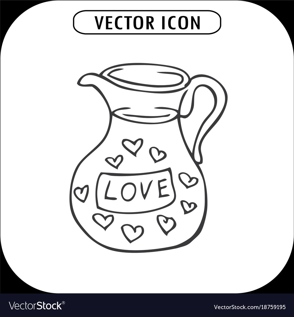 Carafe with hearts vector image