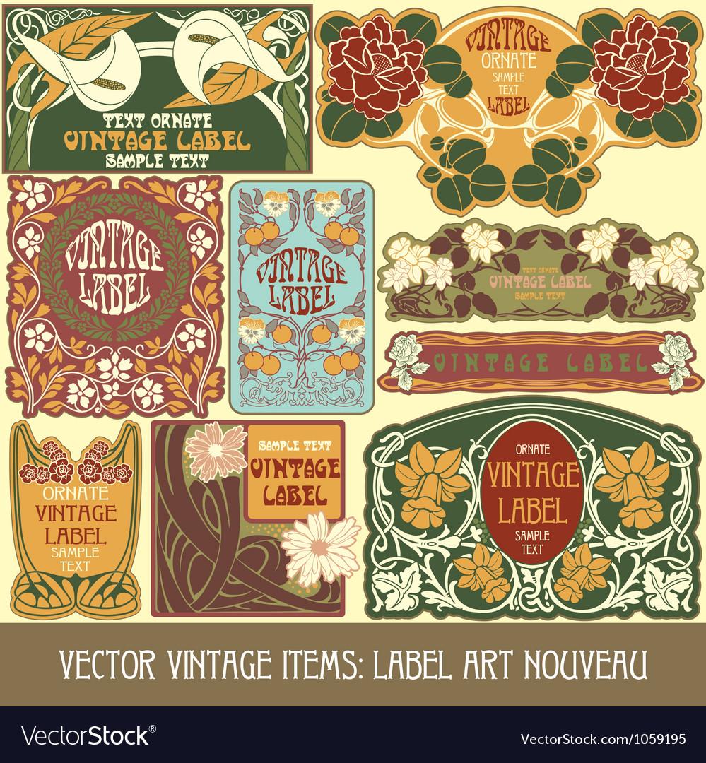 Vintage items - label art nouveau vector image
