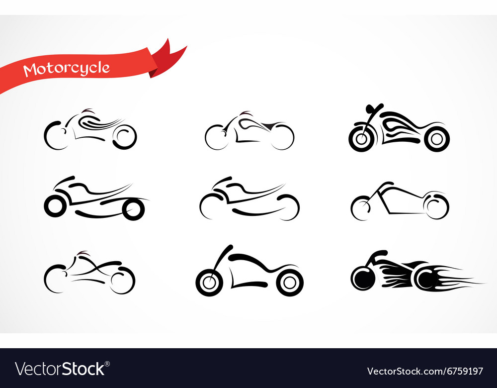 Silhouette of classic motorcycle vector image