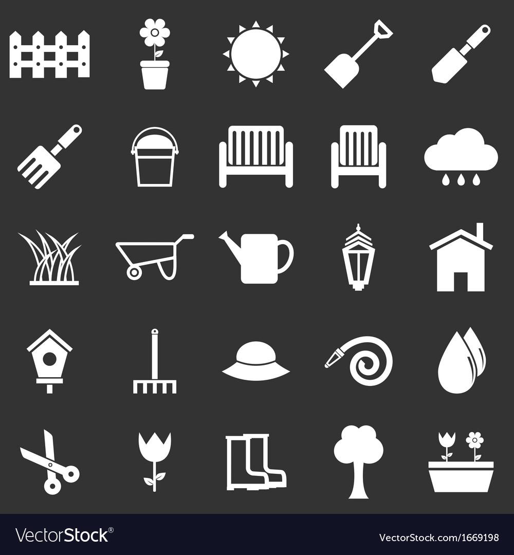 Gardening icons on black background vector image