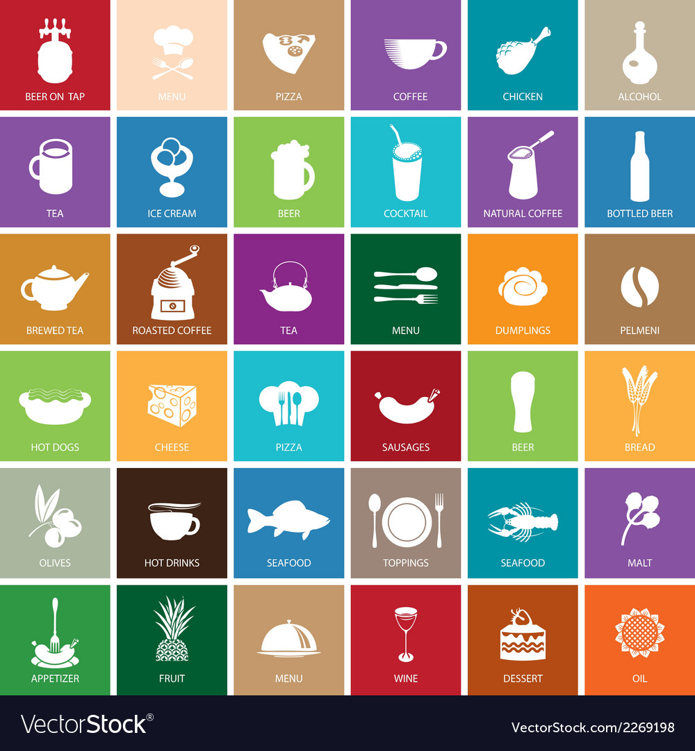 Sign food set vector image