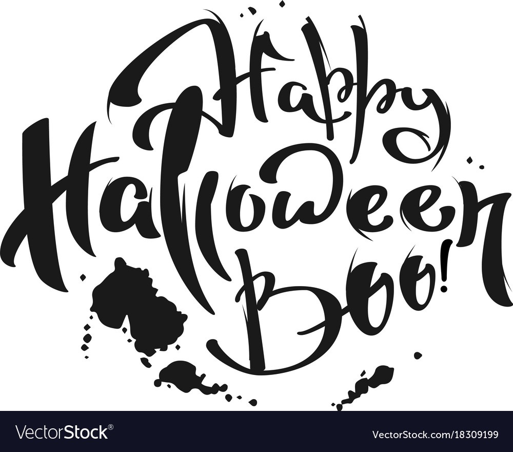 Happy halloween boo lettering text for greeting Vector Image