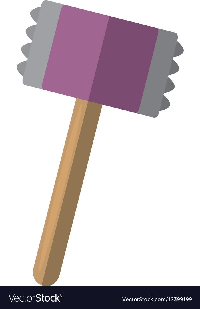 Wooden steel hammer kitchen and cooking utensils vector image