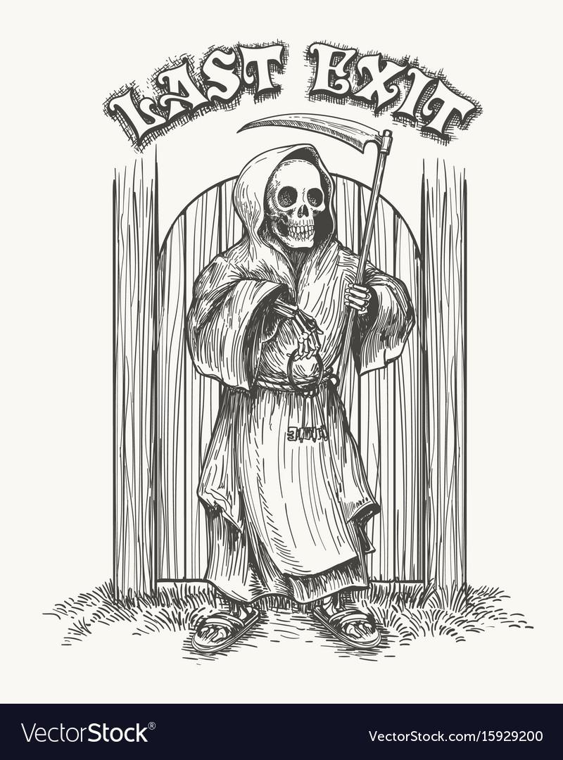 Death with scythe and keys vector image