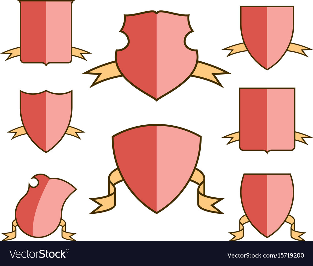 Heraldic escutcheons for coat of arms with ribbons vector image