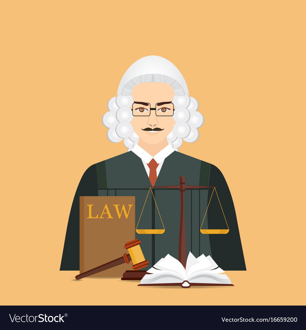 Male judge in wig with law and justice set icon vector image