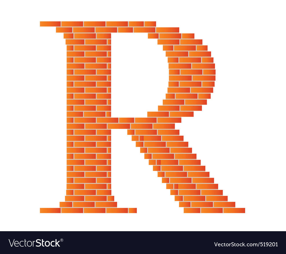 Brick letter vector image