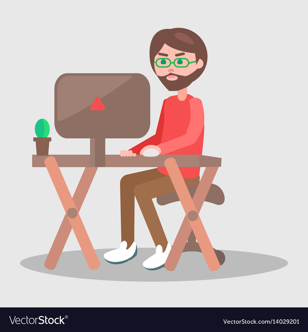 Cartoon man sits at table with computer vector image
