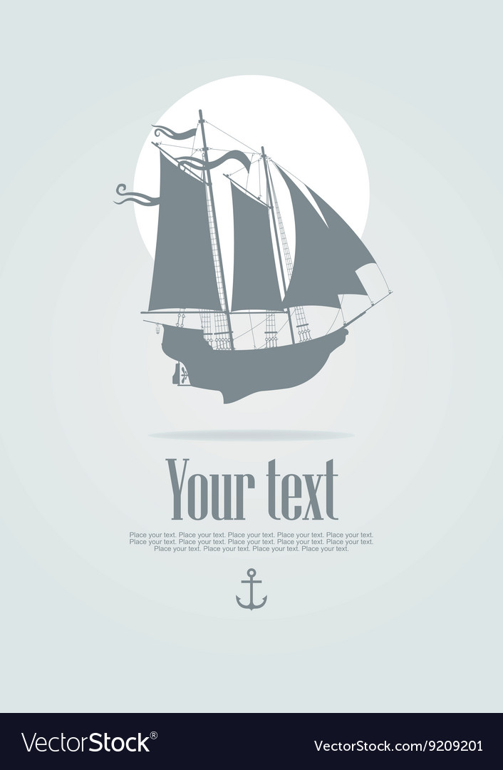 Sailing boat with an anchor vector image