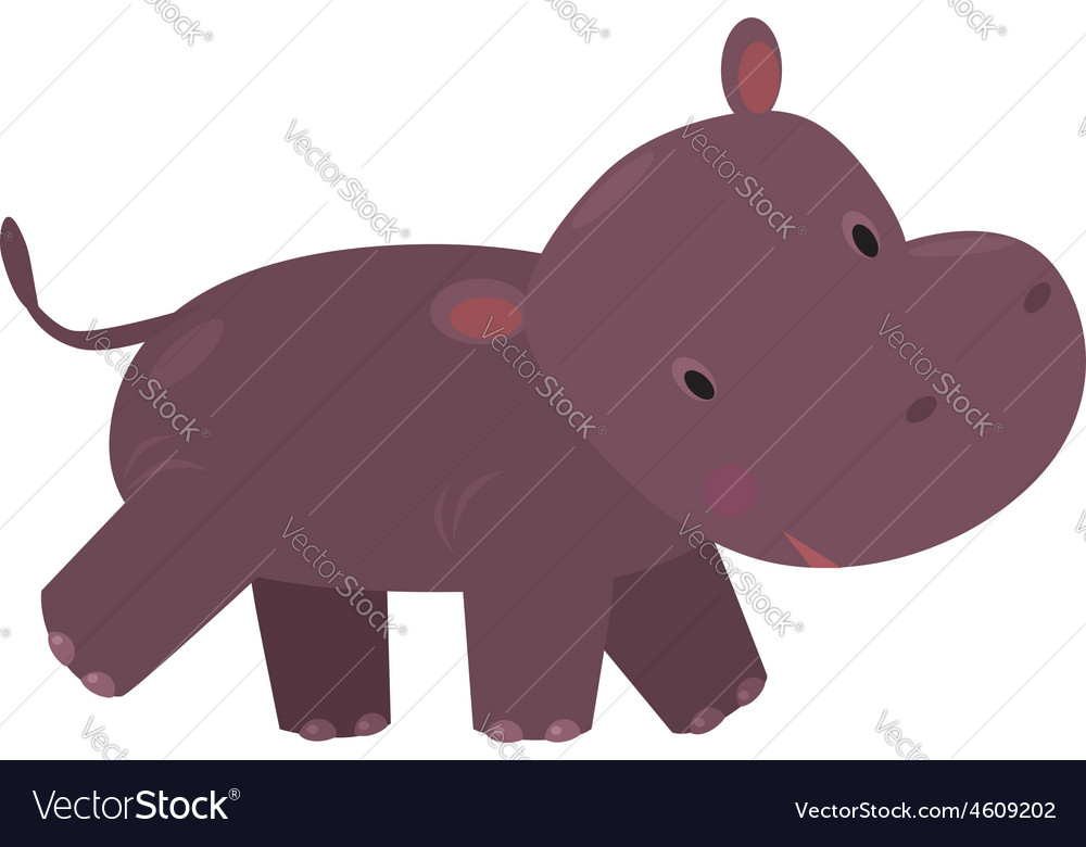 Little funny hippo vector image