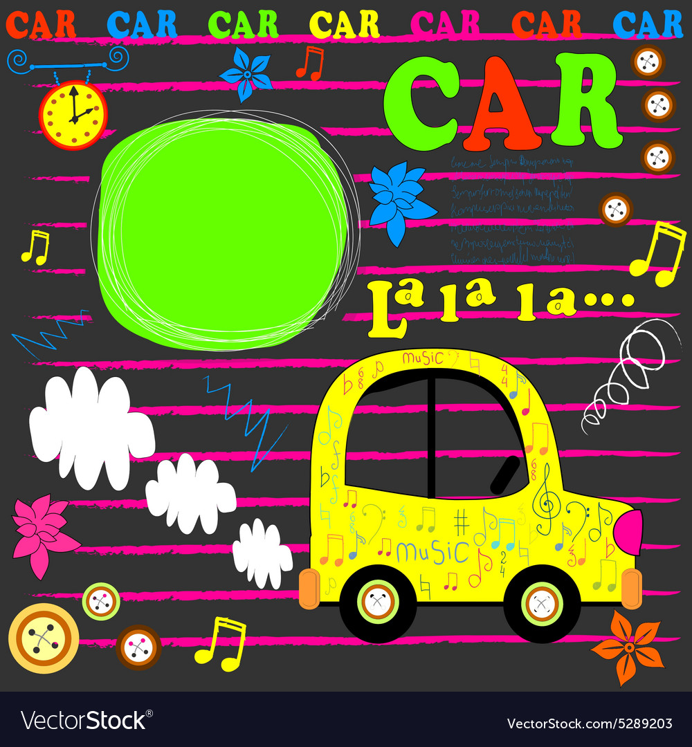 Happy birthday card flat design car vector image