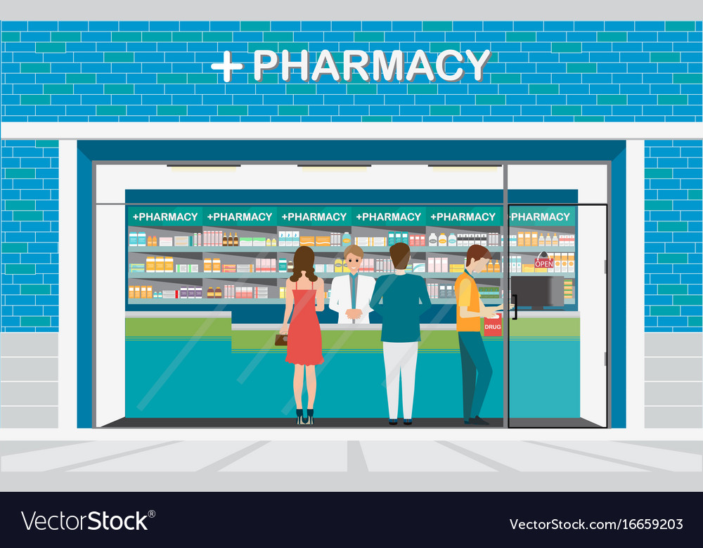 Male pharmacist at the counter in a pharmacy shop vector image