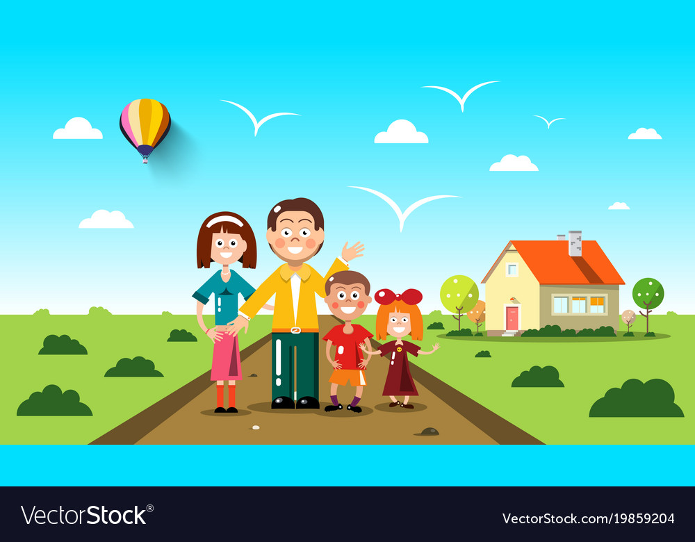 People with family house on background flat vector image