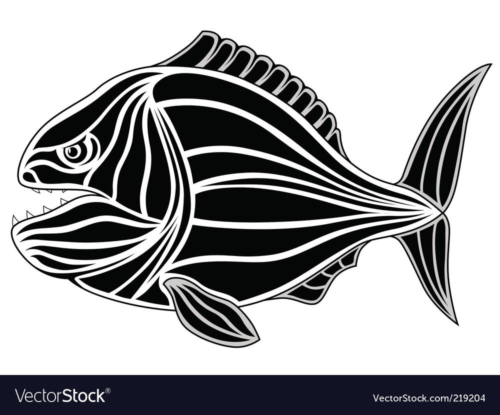 Piranha tattoo vector image