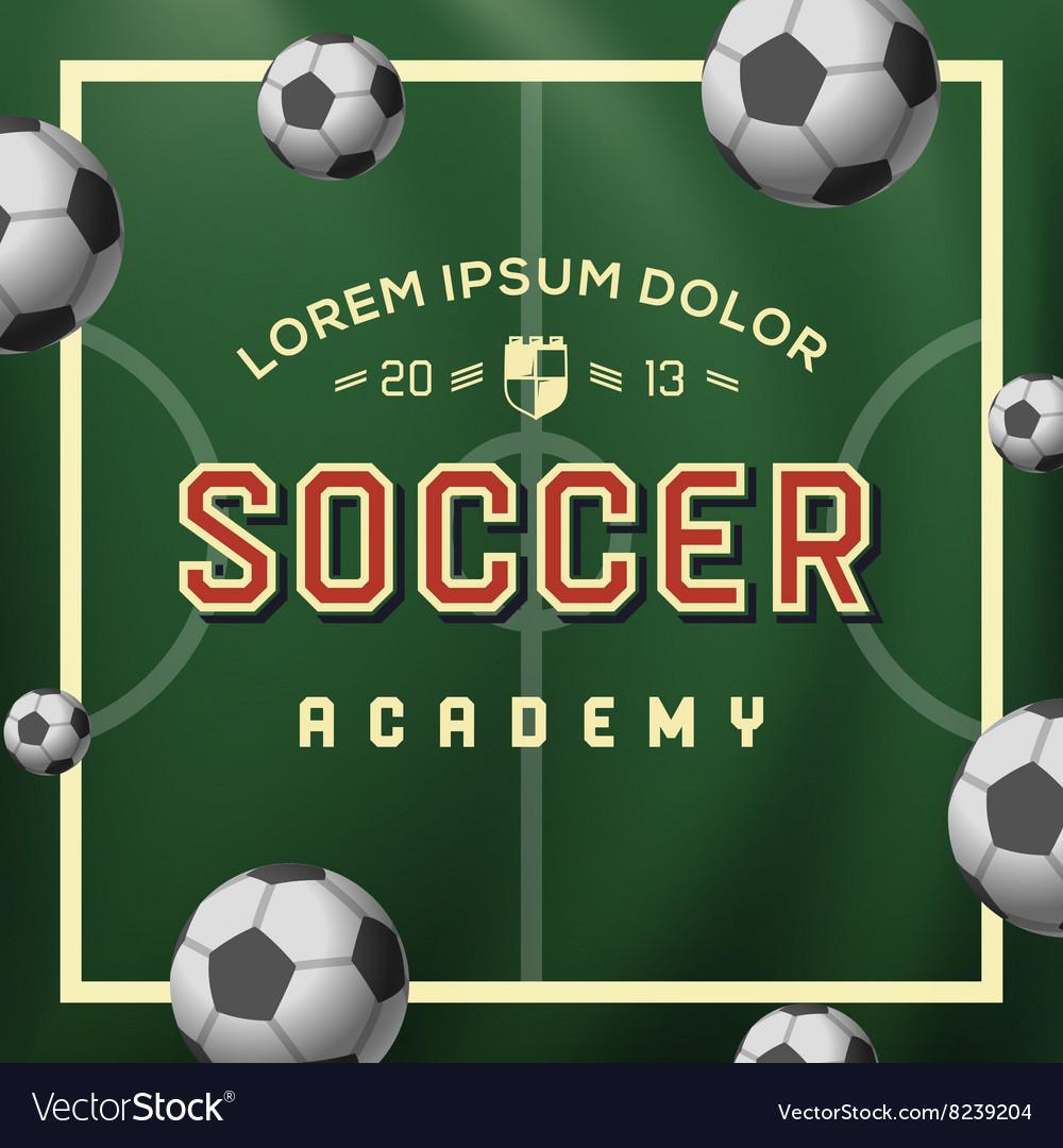 Soccer academy football soccer ball on the field vector image