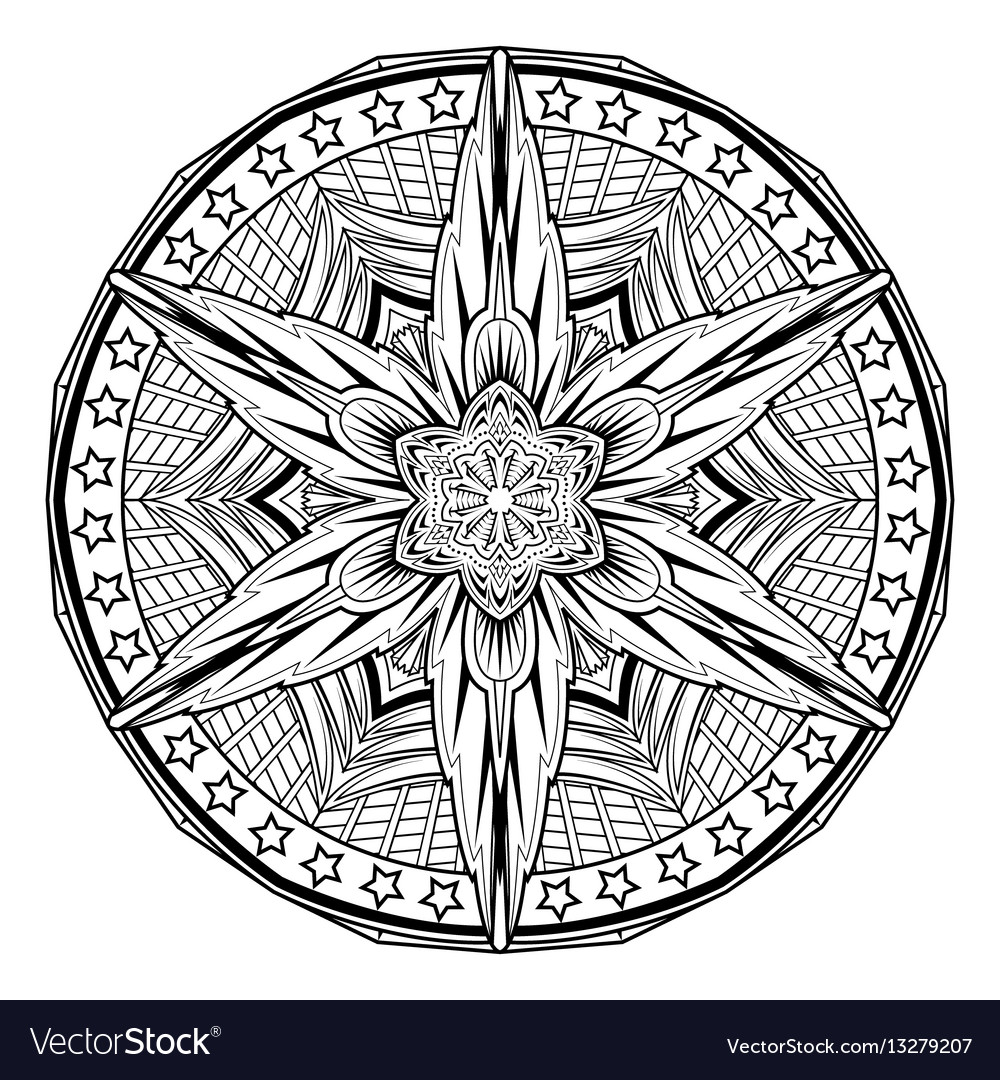 Abstract Mandale Coloring Book Page Vector Image