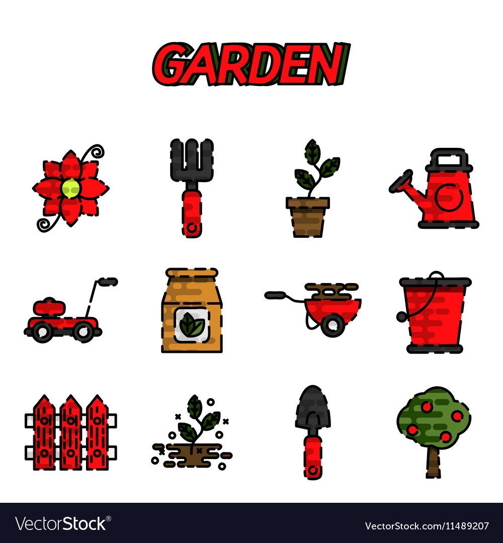 Garden flat icons set vector image