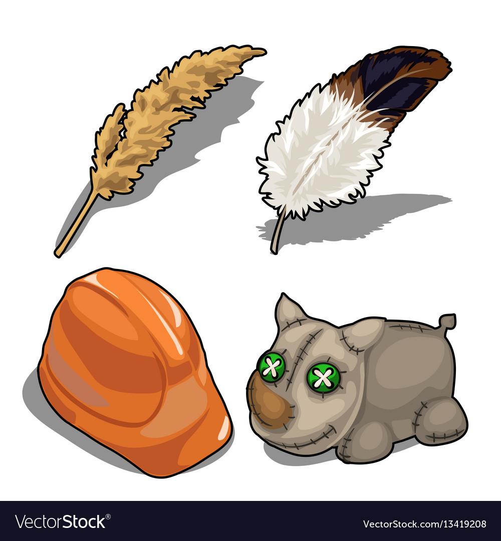 Set isolated of rhino helmet feather vector image