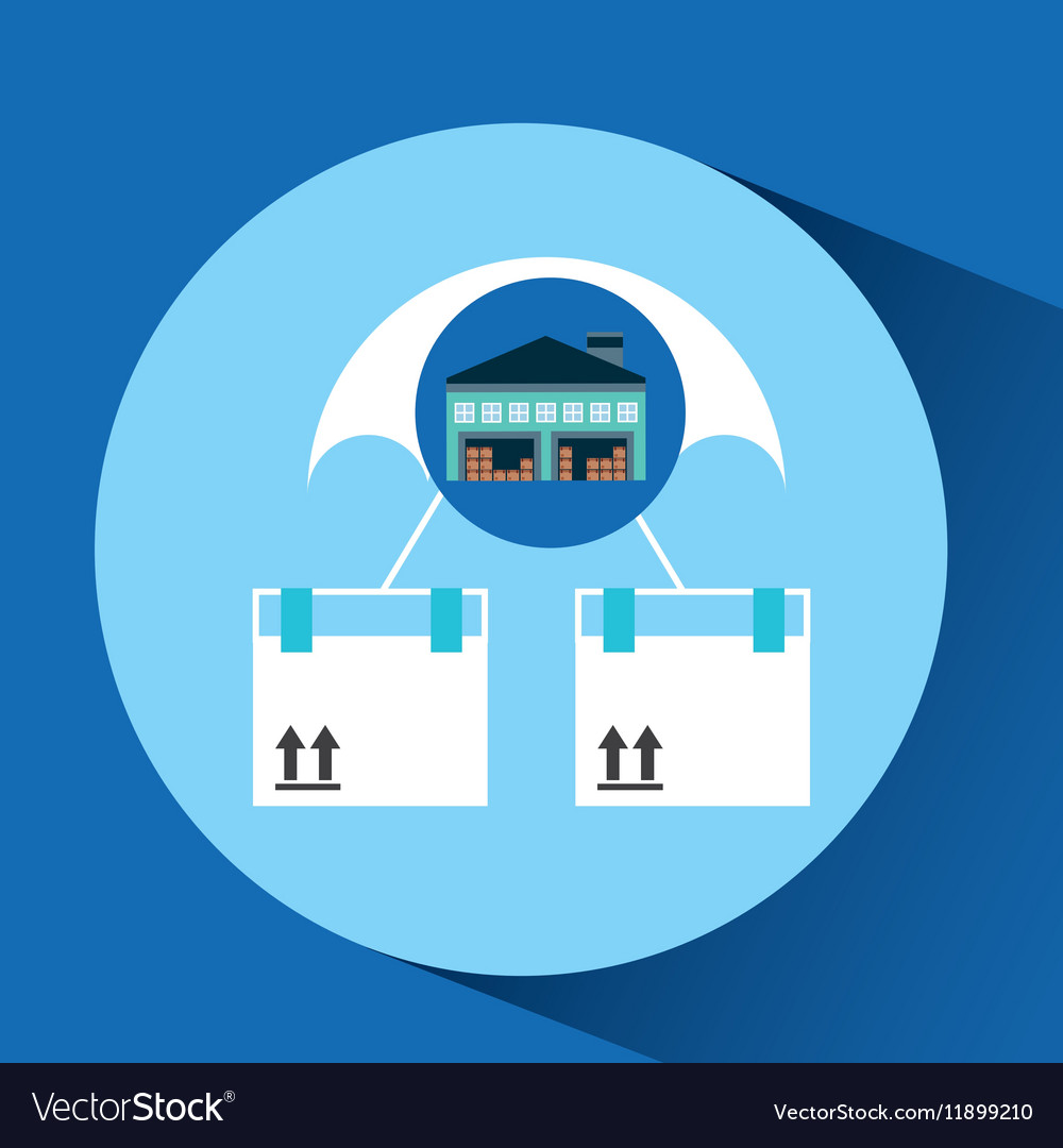 Warehouse building airmail shipping vector image