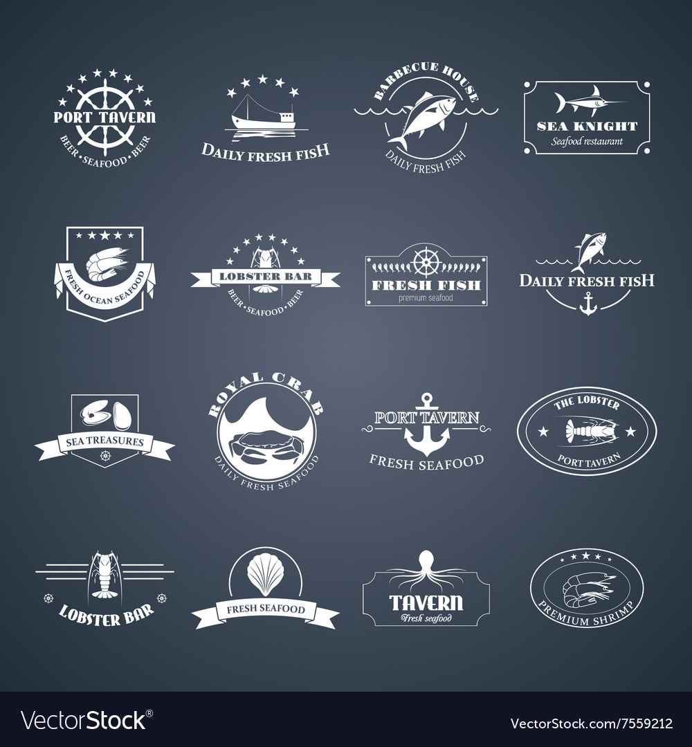 Set of seafood logos vector image