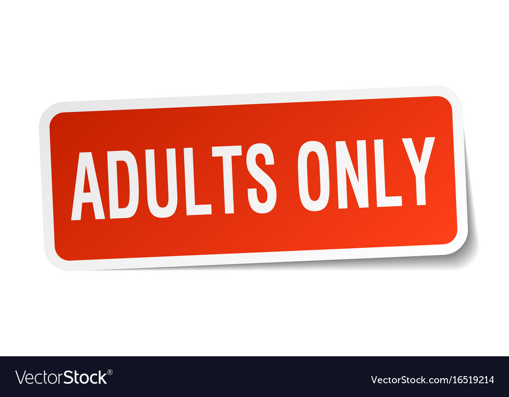 Adults only square sticker on white vector image