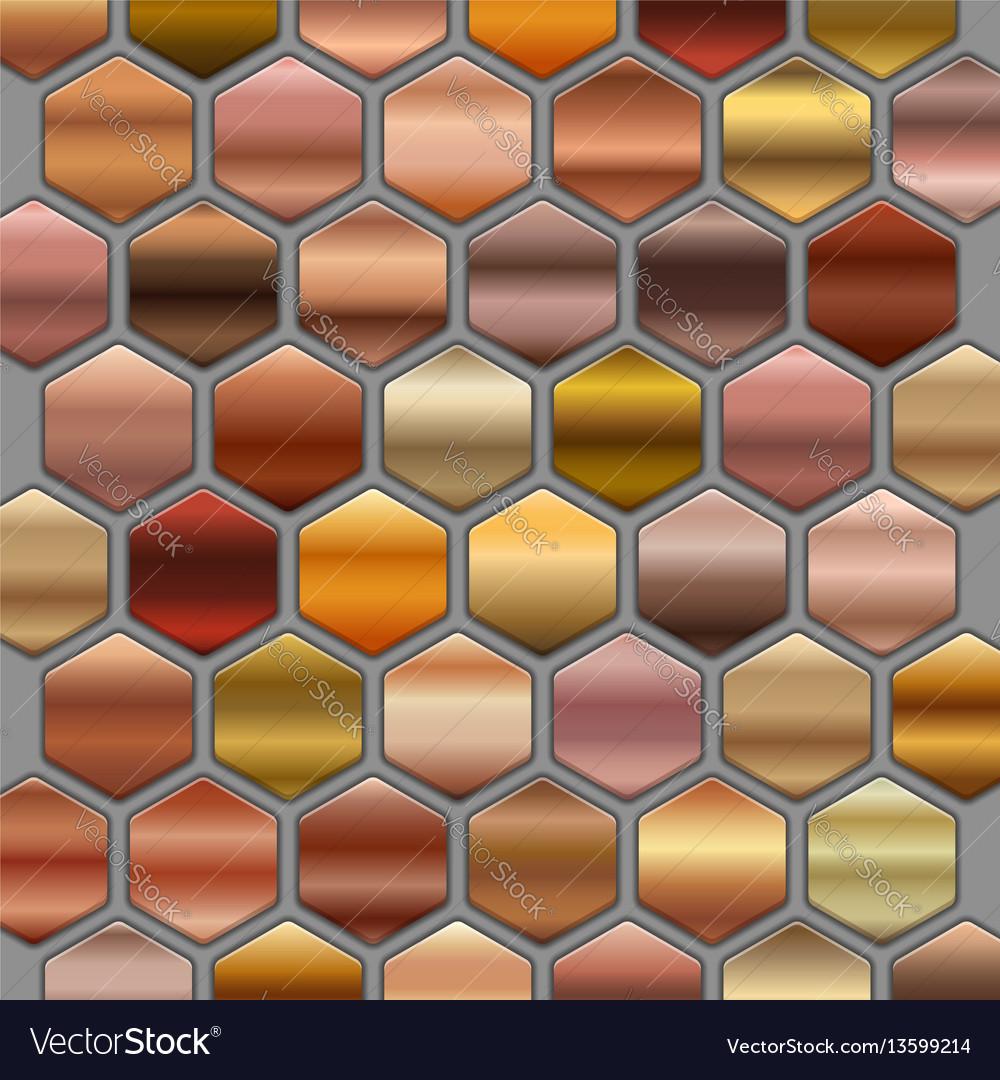 Bronze roze gold gradients set in hexagons big vector image