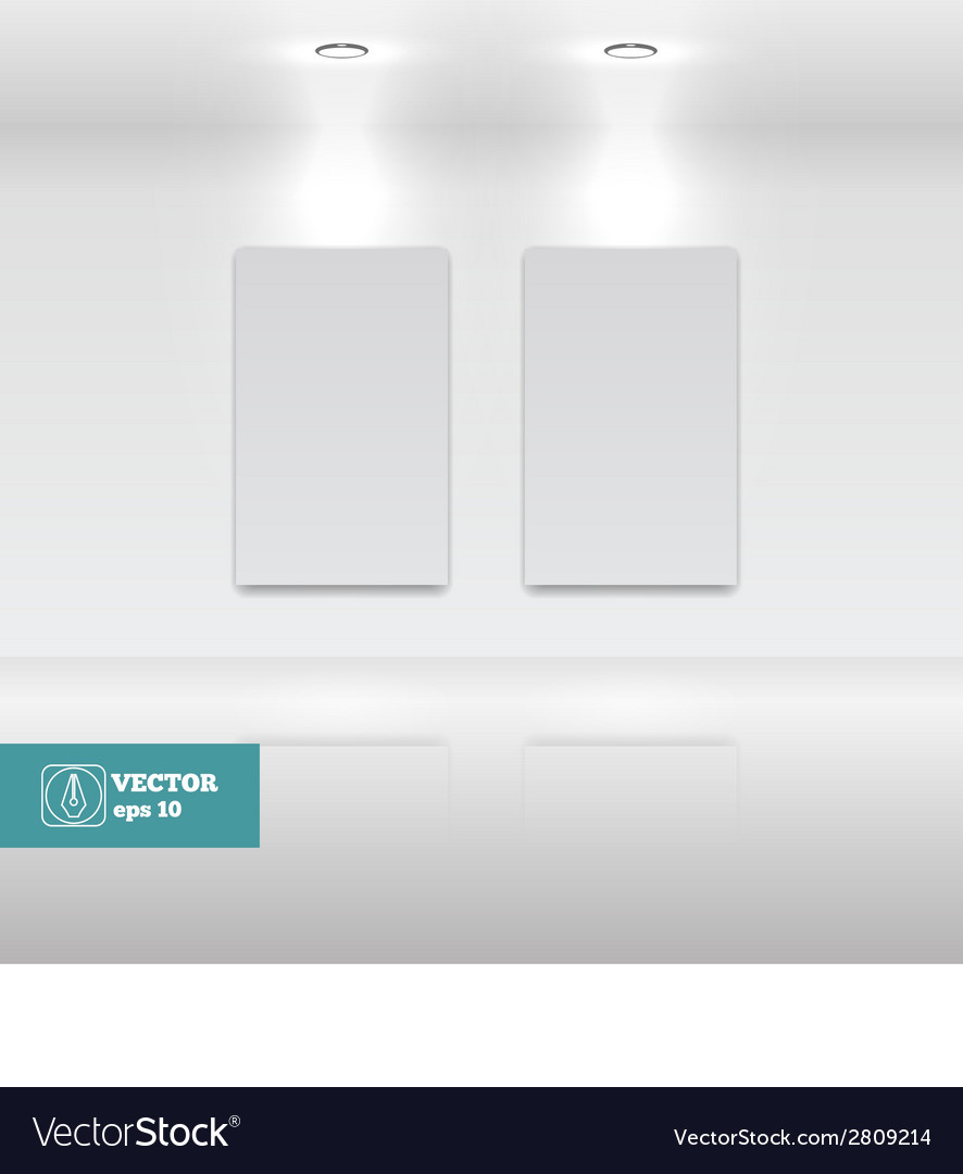 Empty White frames in art gallery vector image