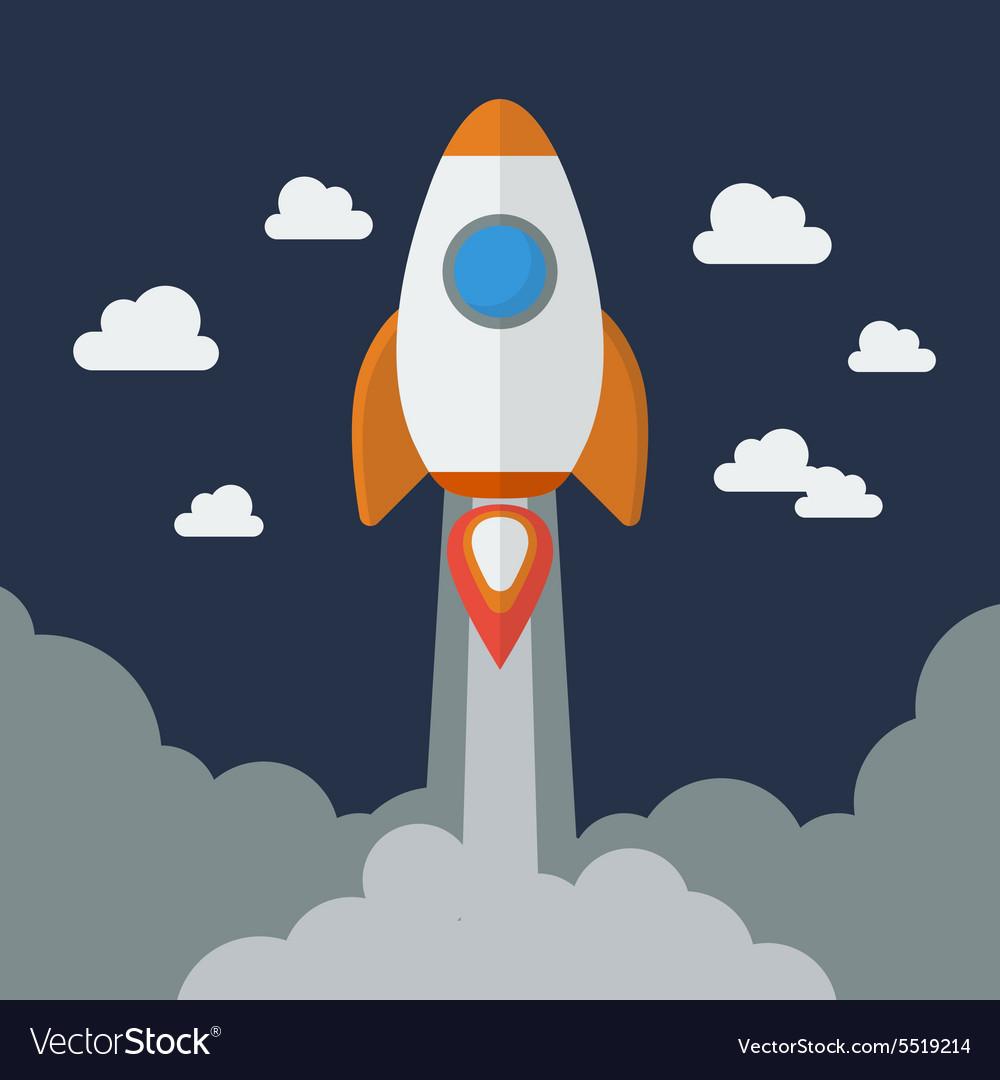 Rocket Flat Design vector image
