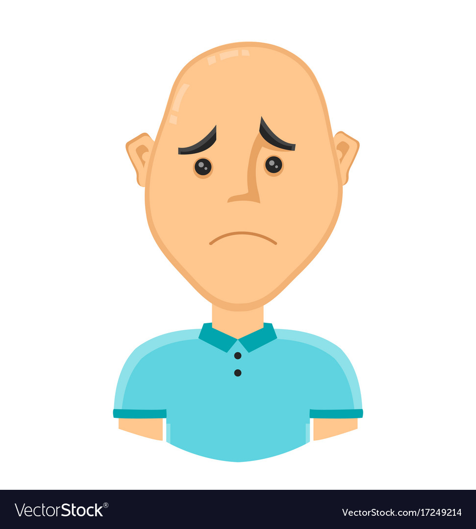 Sad bald man without hair vector image