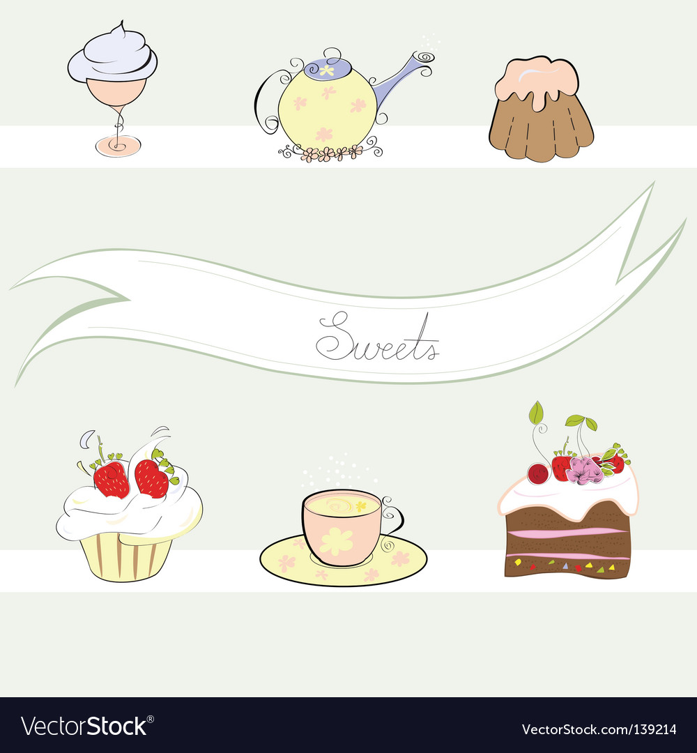 Stylized background with sweets vector image