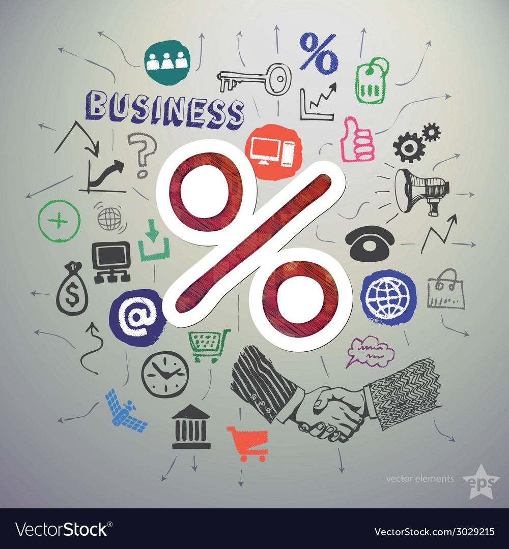 Hand drawn business icons set and sticker with vector image