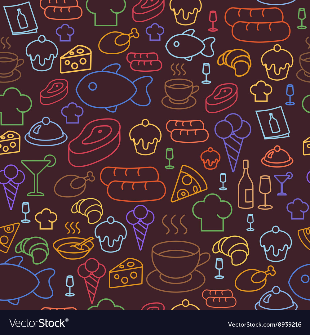 Colored line icons of restaurant and fast food vector image
