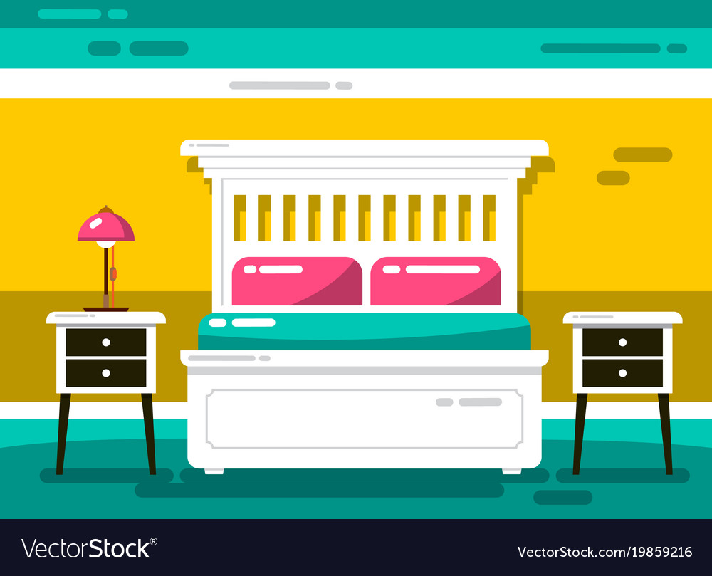 Flat design hotel room with bed vector image