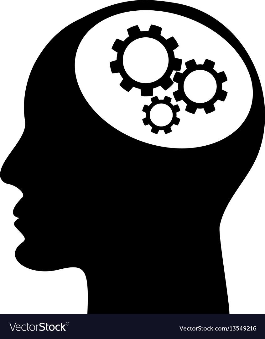 Gear in head icon vector image