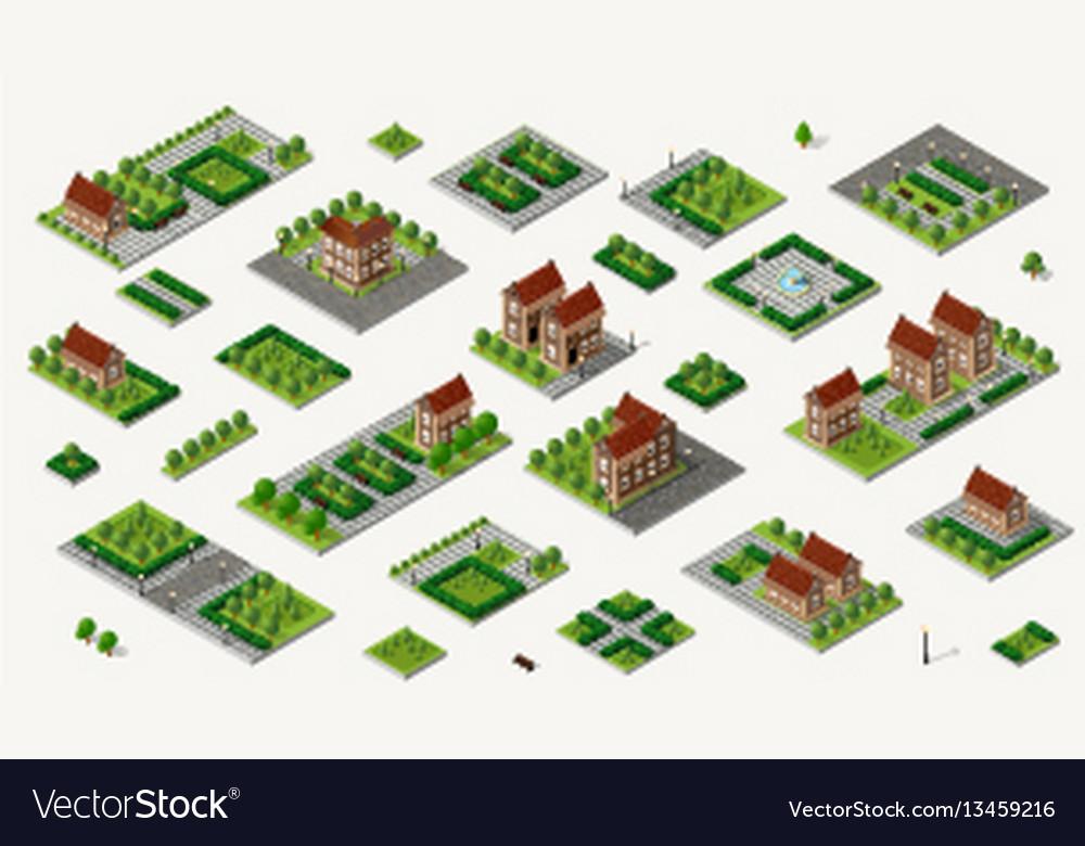 Retro isometric country house vector image