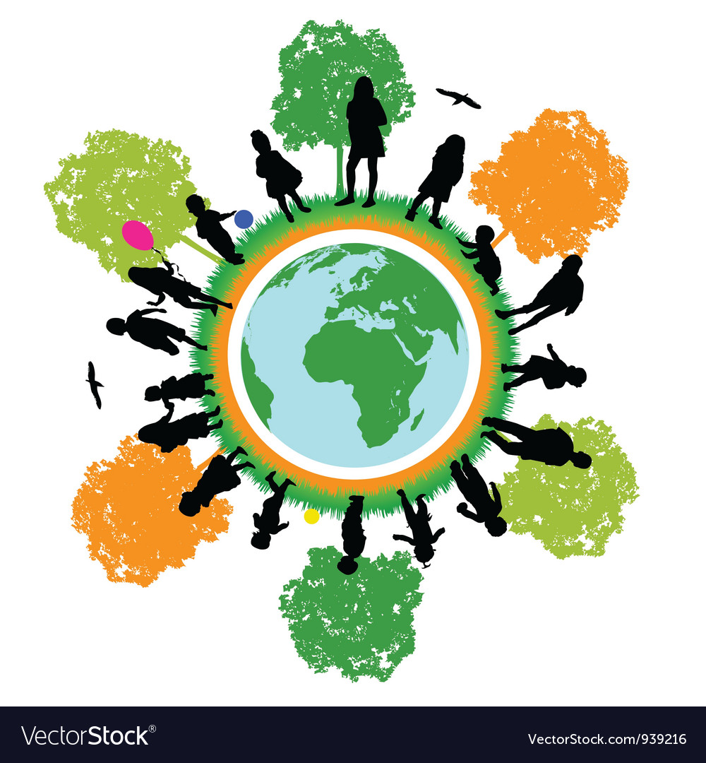 Tree world children vector image