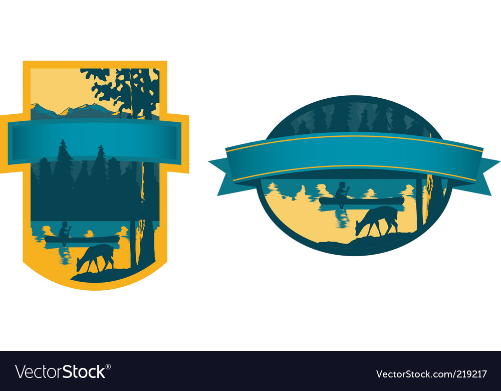 Canoe label vector image
