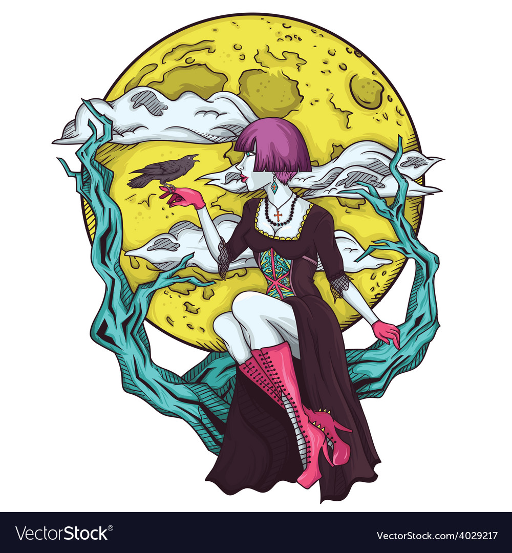 Isolated cartoon gothic princes of the moon vector image